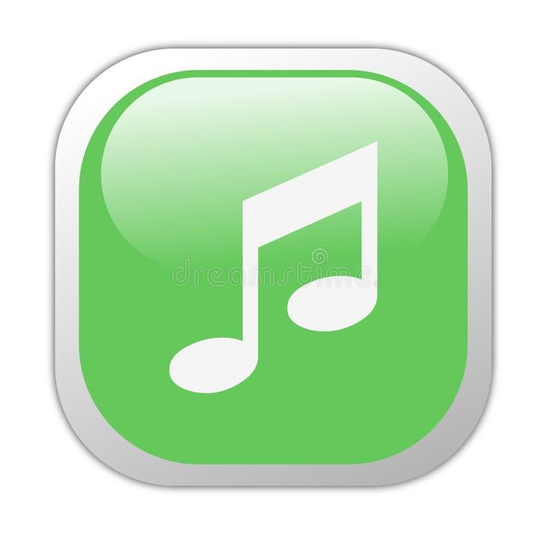 Glassy Green Square Music Icon royalty free illustration