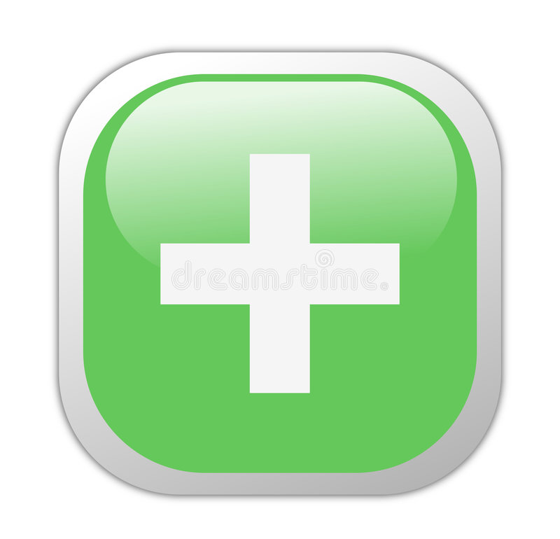 Glassy Green Square Plus Icon Royalty Free Stock Photos