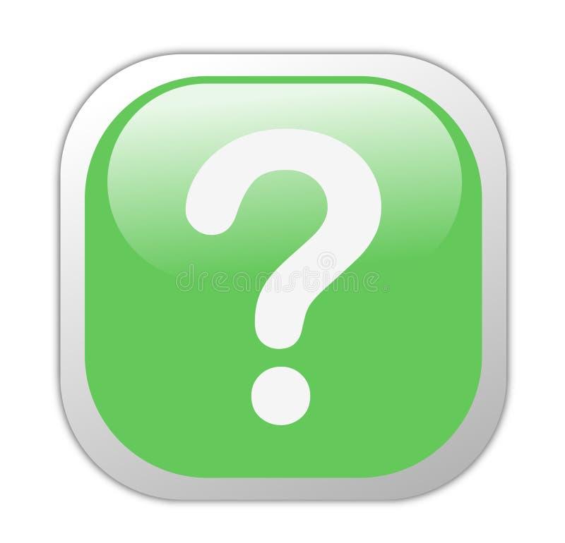 Glassy Green Square Question Mark Icon. Button
