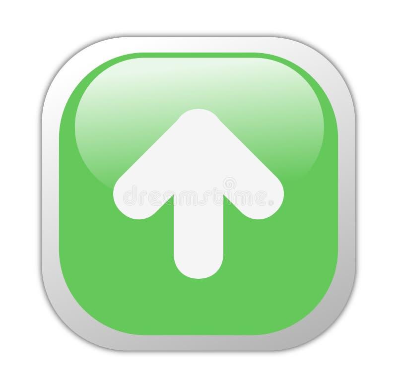 Glassy Green Square Upload Icon Stock Image
