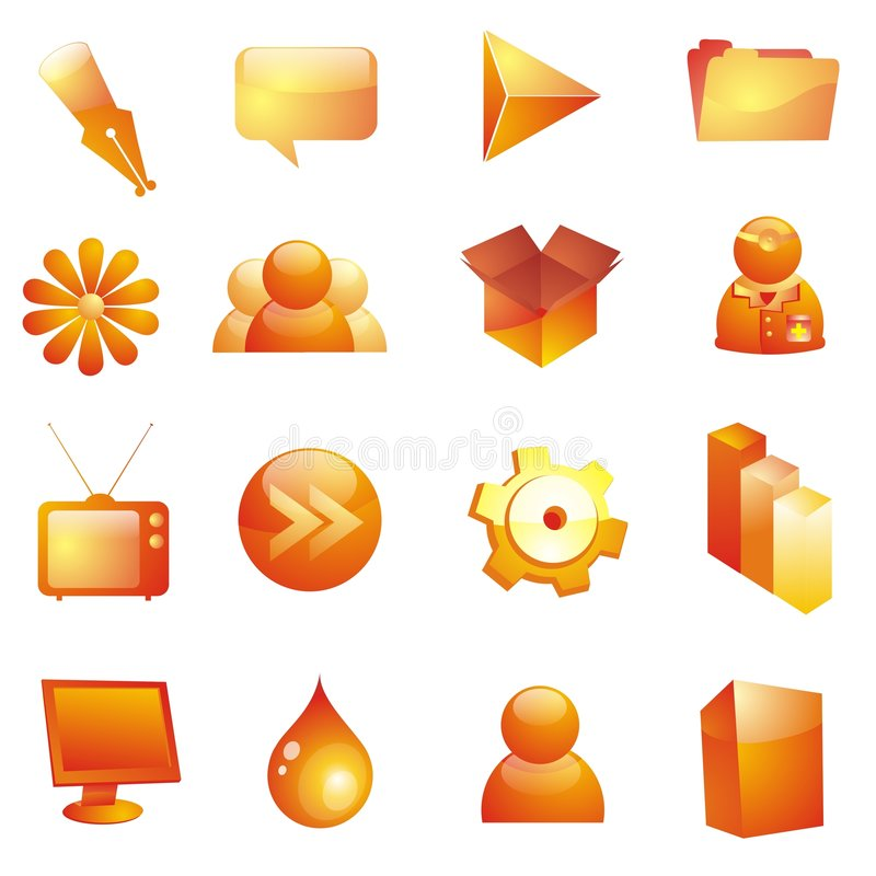 Glassy icon set. 16 icons in glassy orange look
