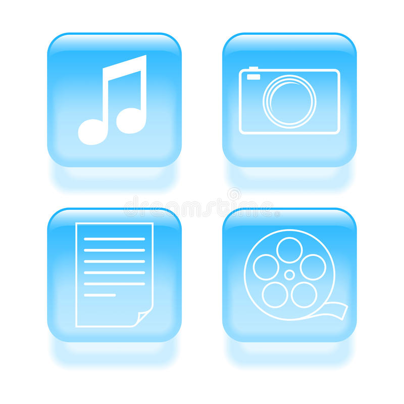 Glassy multimedia icons royalty free illustration