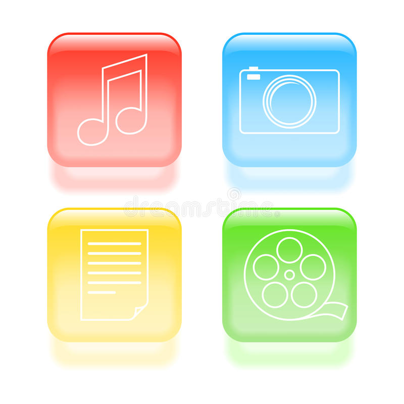 Glassy multimedia icons stock illustration