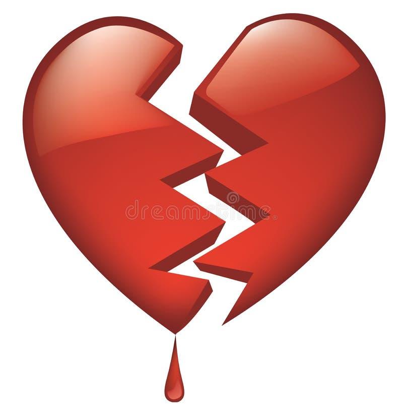 Glassy quebrado coração com gota do sangue ilustração stock