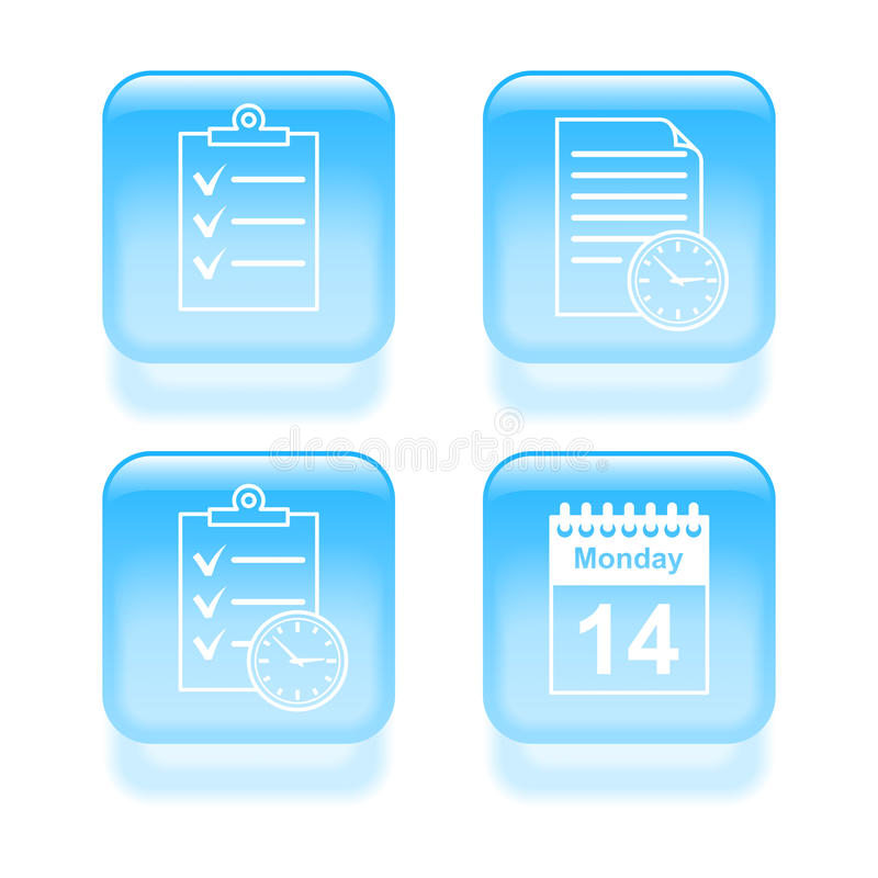 Glassy schedule icons stock illustration