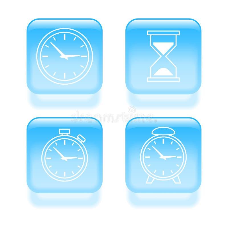 Glassy time icons royalty free illustration