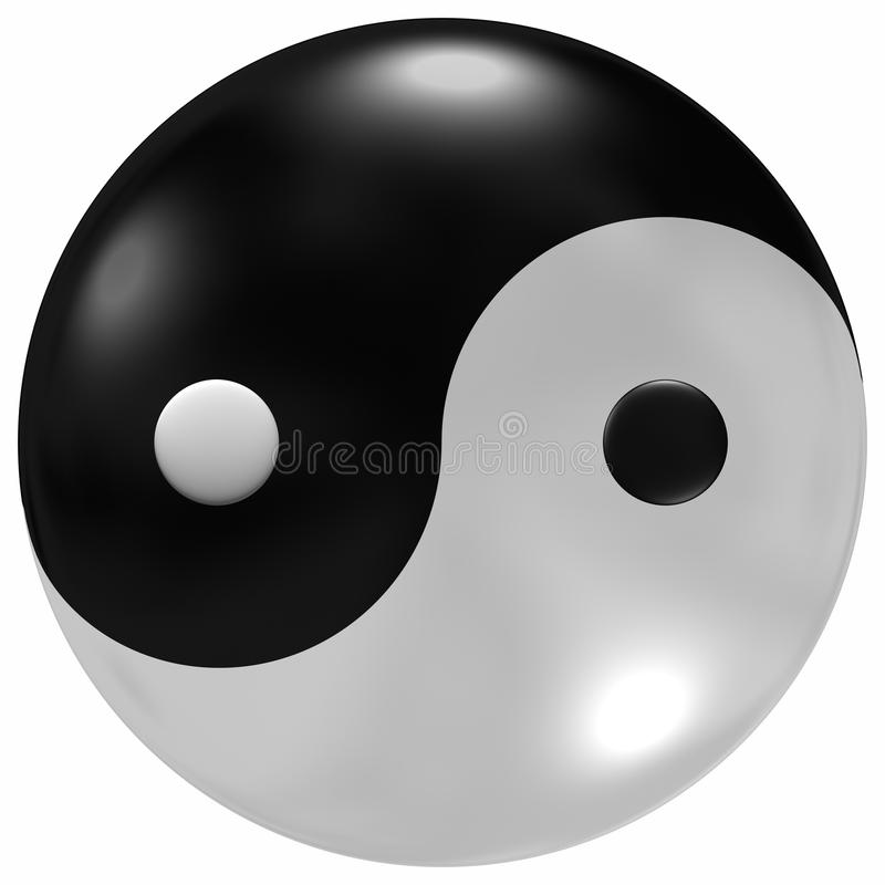 Glassy Yin-Yang. Yin Yang symbols with a glass like dome over the top stock illustration