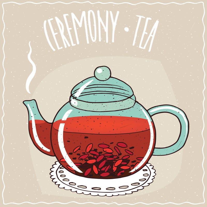 Glasteekanne mit Tee mit goji Beere vektor abbildung