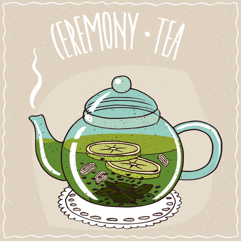 Glasteekanne mit Tee mit Ingwer und Kalk stock abbildung