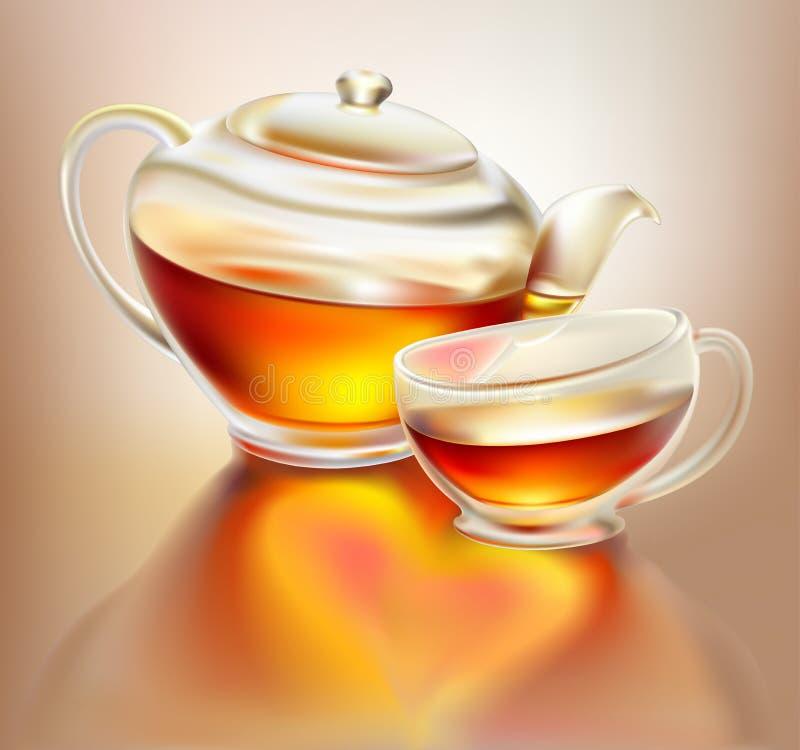Glasteekanne und Cup mit Tee mit Liebe lizenzfreie abbildung