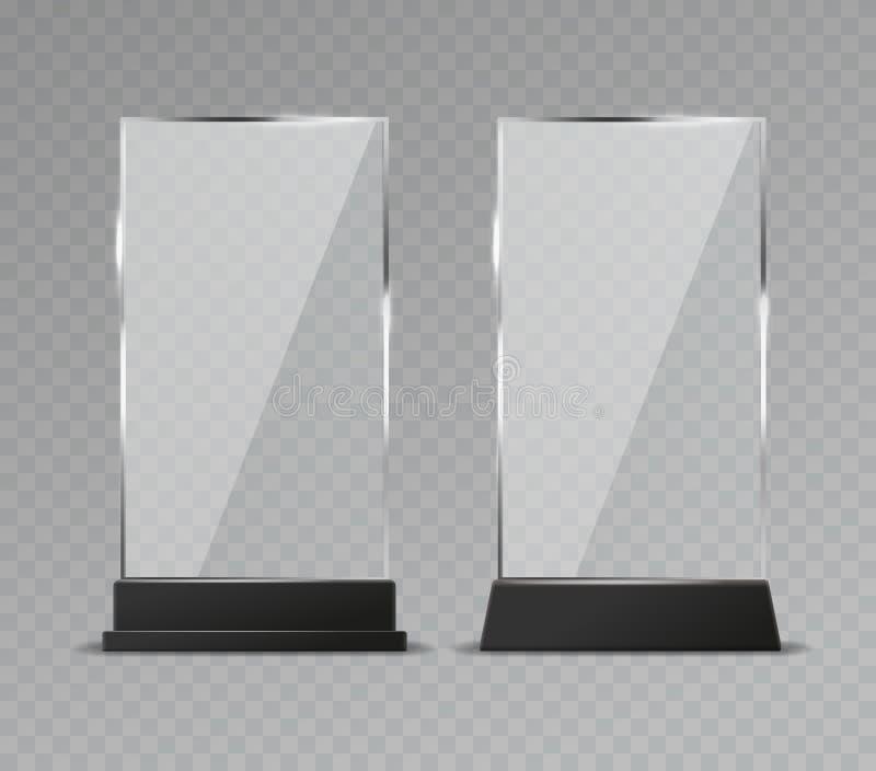 Glastischanzeige Der Glastischzeichen des Büros glänzender Plattenvektor der transparenten modernen klaren Standplastikreflexion stock abbildung
