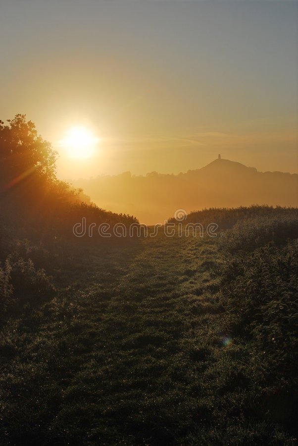 Download Glastonbury Avalon dawn stock photo. Image of church, dawn - 5403176