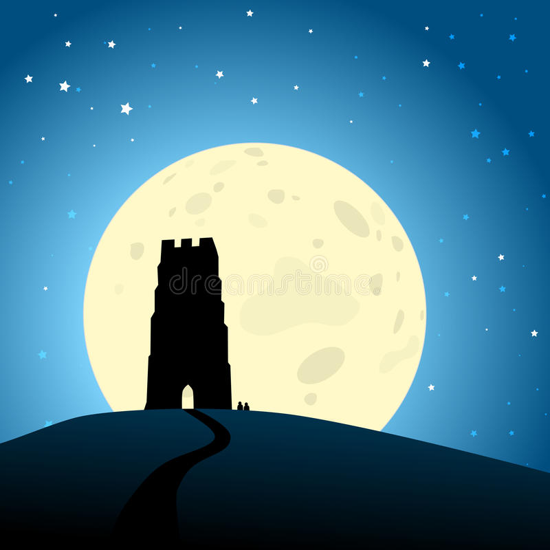 Glastonbury Moonrise EPS10 Vector. Silhouette of Glastonbury Tor, Somerset, England agains a moonlit night sky. EPS10 with some transparency effects and stock illustration