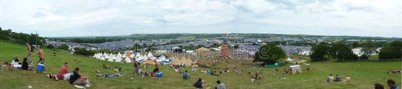 Glastonbury Site-Panorama stockfotos