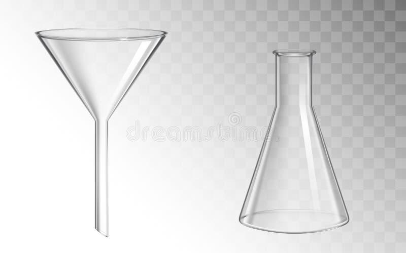 Glastrechter en fles, glaswerk voor chemisch laboratorium vector illustratie