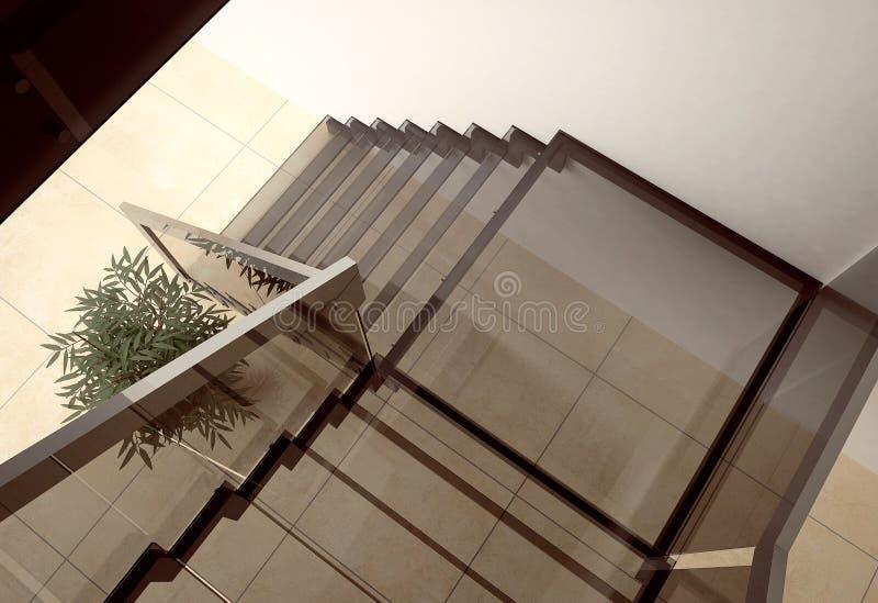 Glastreppenhaus lizenzfreie abbildung