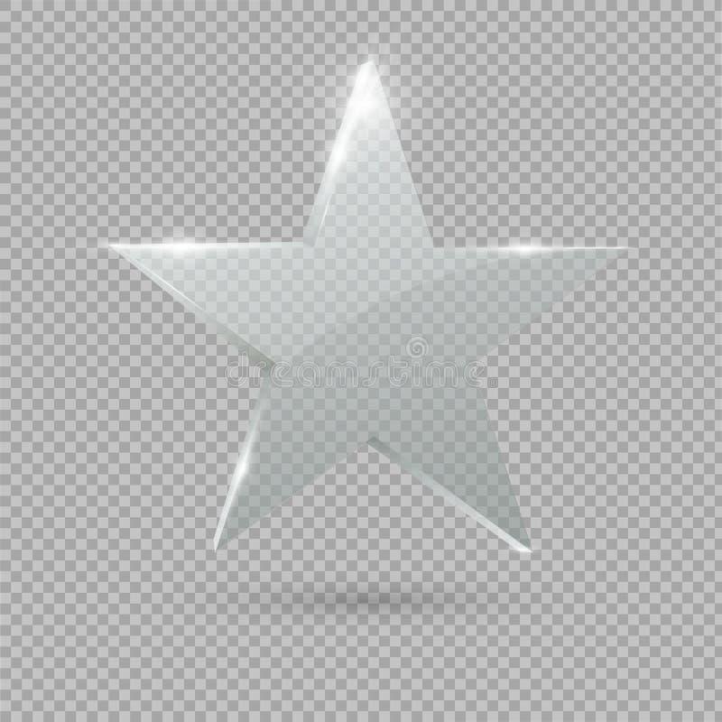 Glastrophäenpreis Stern Auch im corel abgehobenen Betrag stock abbildung