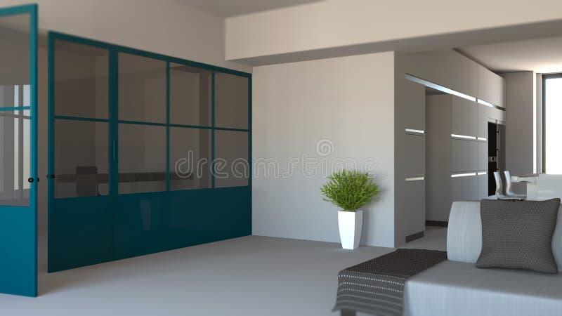 Glasvägg i blått, järn och exponeringsglas, vardagsrum, uppehälleutrymme och kök inre modernt för design royaltyfri fotografi