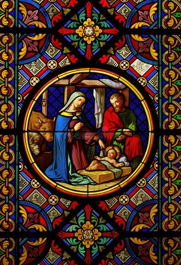 Glasvenster van Christmas.Sained royalty-vrije stock fotografie