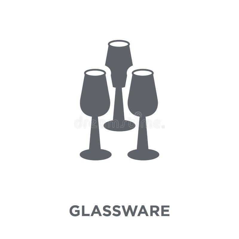 Glaswarenikone von der Möbel- und Haushaltssammlung lizenzfreie abbildung