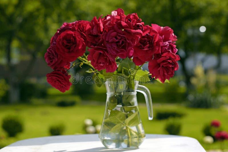 Glaswaterkruik met rode rozen in de tuin stock fotografie