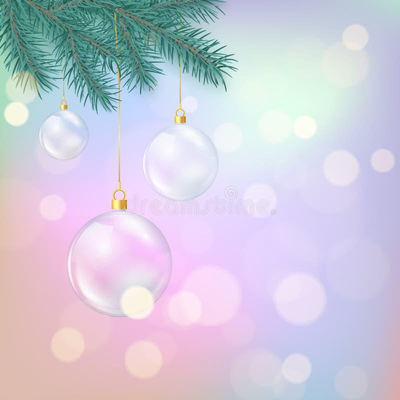 Glasweihnachtsbälle, die am Tannenzweig hängen Magisches Weihnachtsbunter Hintergrund Winterurlaubdekorationselement Vektor stock abbildung