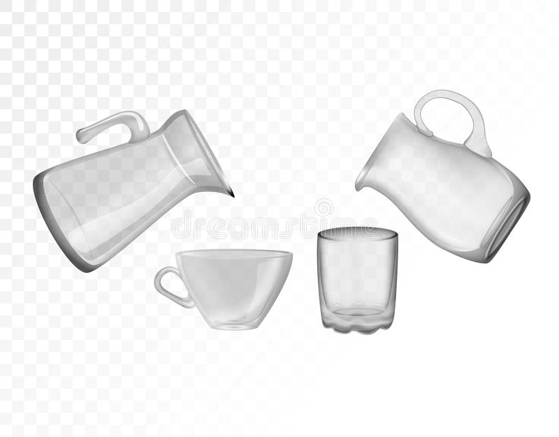 Glaswerk, kruik, glas, kop Decoratieve huishoudenpunten vector illustratie
