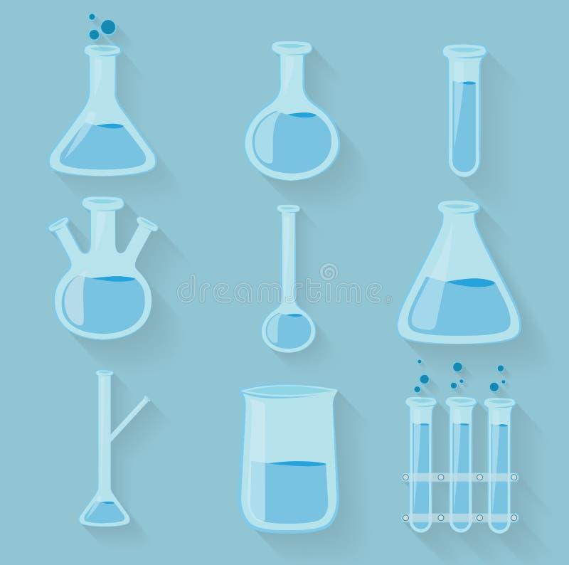 Glaswerk van laboratorium het chemische flessen Vector vector illustratie