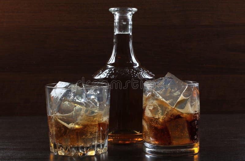 Glaswhisky op dark twee royalty-vrije stock foto's