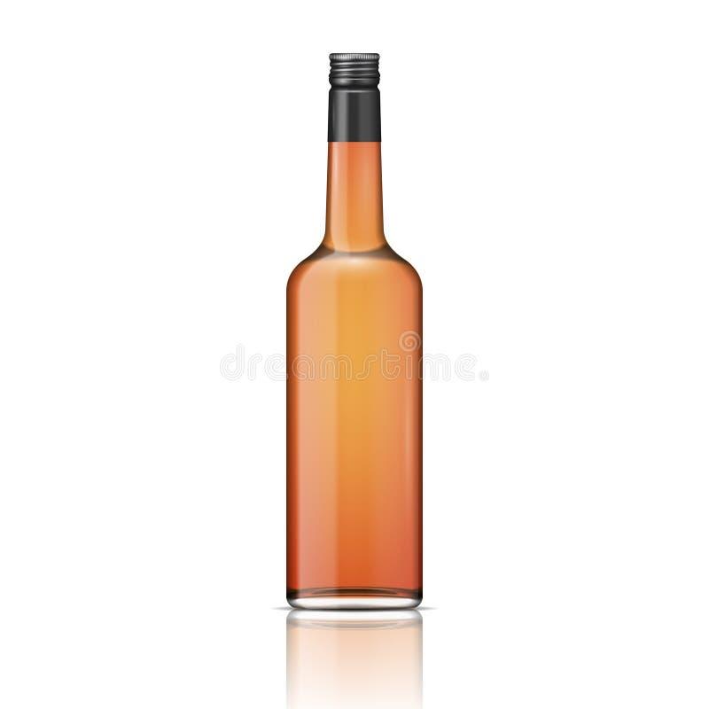 Glaswhiskyflasche mit schraubverschluss. vektor abbildung