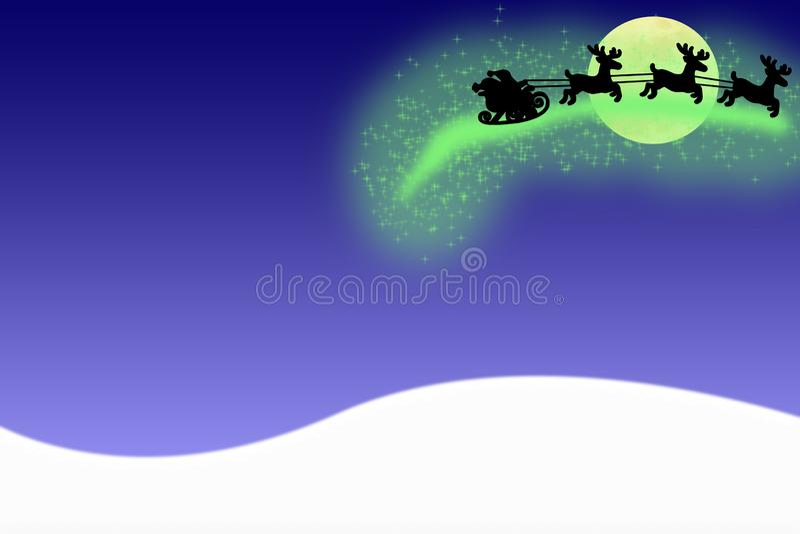 Glat julkortSanta Claus flyg i luften på en pulka med deers som isoleras på en blå bakgrund med snö royaltyfri illustrationer