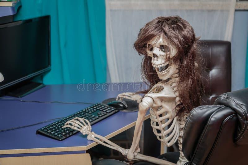 Glat le skelett i ett peruksammanträde i stol bak den skrivbords- datoren royaltyfria foton