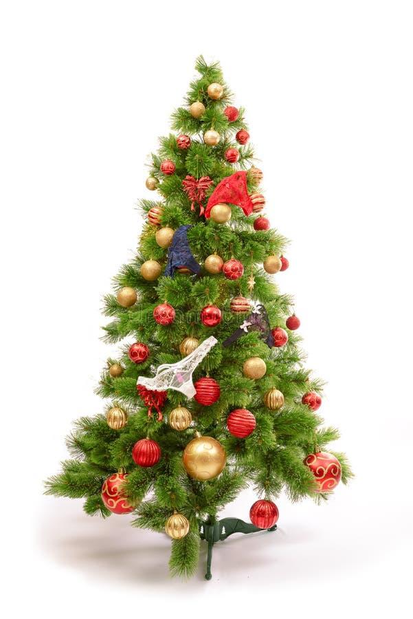 Glat studioskott av en julgran med färgrika prydnader som isoleras på vit royaltyfri fotografi