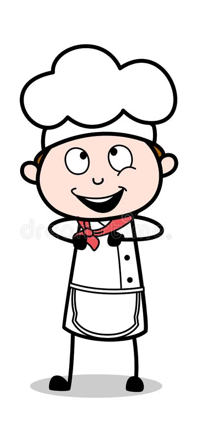 Glat uttryck - tecknad filmuppassareMale Chef Vector illustration stock illustrationer