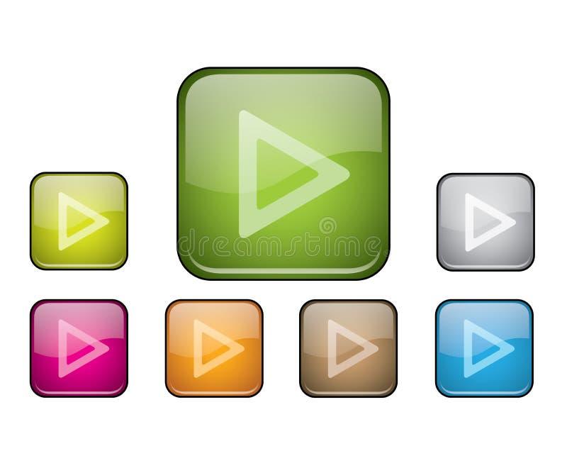 Glatte aufgerundete quadratische Tasten mit Spielzeichen lizenzfreie abbildung