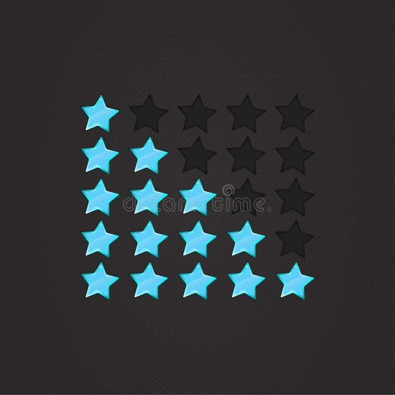 Glatte Bewertung Stars Blau lizenzfreie abbildung