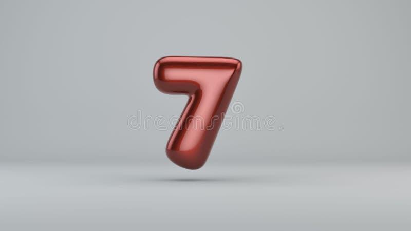 Glatte Farbe Nr. 7 3D übertragen vom Blasenguß mit Schimmer vektor abbildung