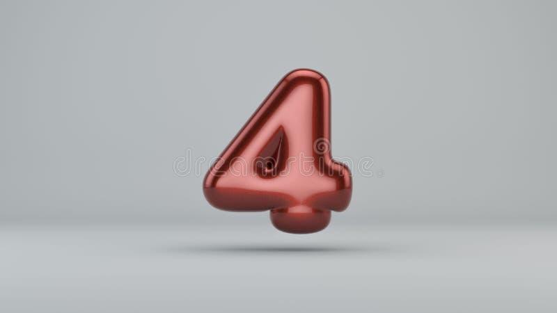 Glatte Farbe Nr. 4 3D übertragen vom Blasenguß mit Schimmer stock abbildung