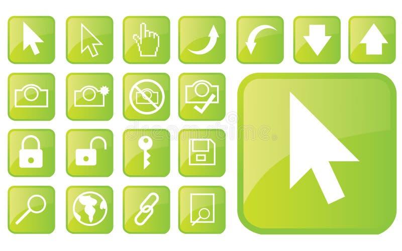 Glatte grüne Ikonen part1 stock abbildung
