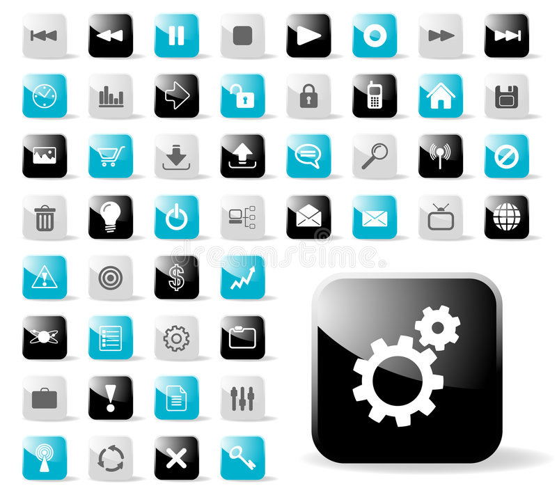 Glatte Ikone eingestellt für site-Anwendungen vektor abbildung