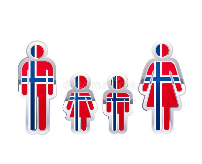 Glatte Metallausweisikone in den Mann-, Frauen- und Kindformen mit Norwegen-Flagge, infographic Element auf Weiß vektor abbildung