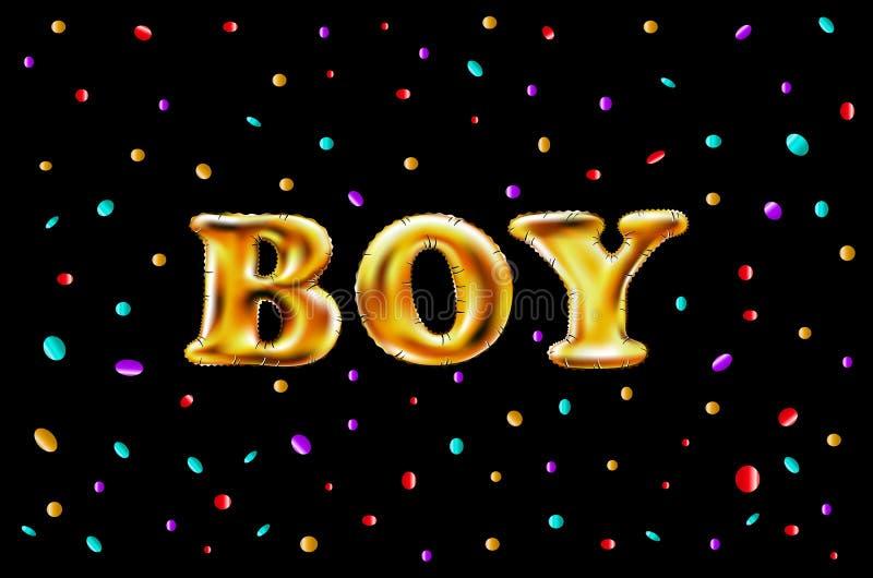 Glatte metallische Ballone des Goldbuchstabejungen-Glanzes alles- Gute zum Geburtstagcharaktere Für Feier Partei, Datum, Einladun vektor abbildung