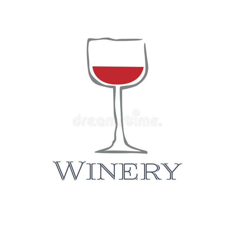 Glatte moderne Vektorillustration eines Weinglases mit einem wenigen Rotwein stock abbildung
