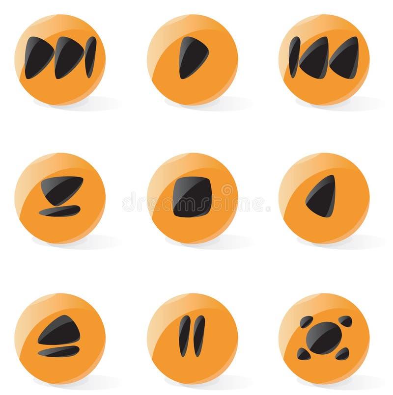 Glatte Multimedia-Spielertasten stock abbildung