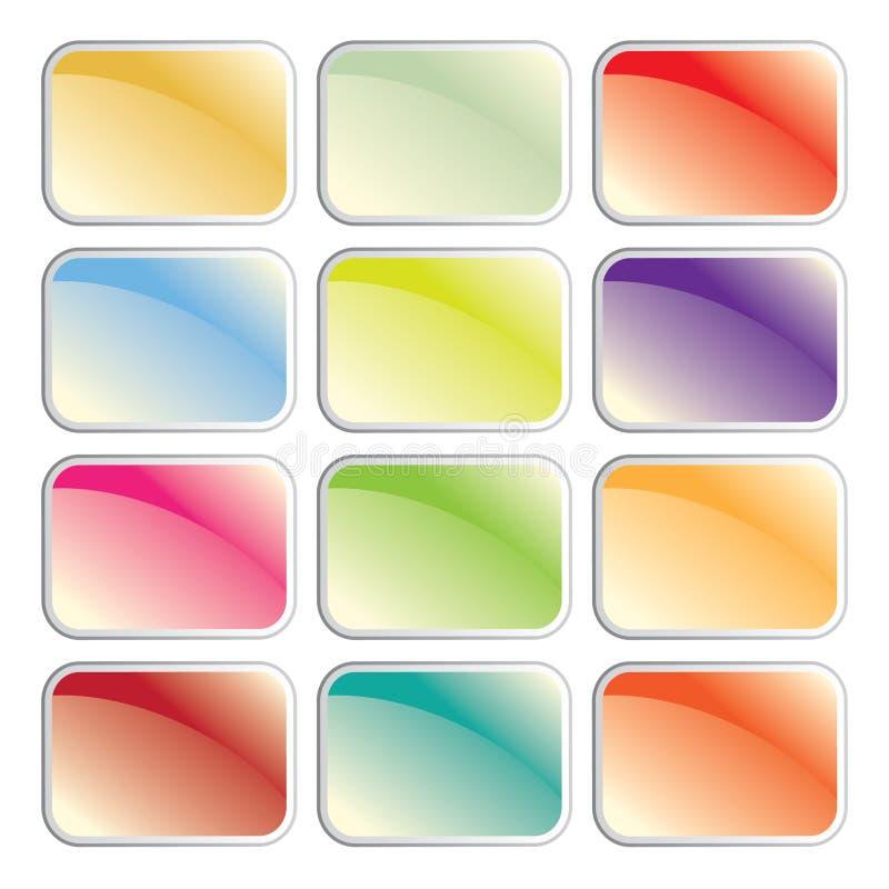 Glatte nette und saubere glänzende Web-Tasten eingestellt lizenzfreie abbildung