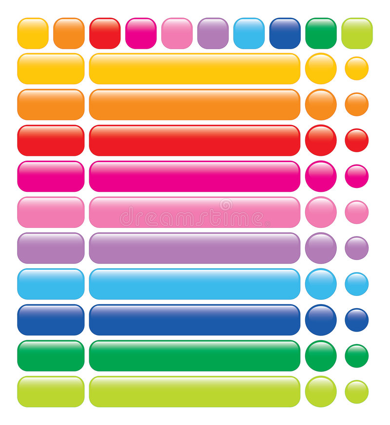 Glatte Regenbogenweb-Tasten stock abbildung