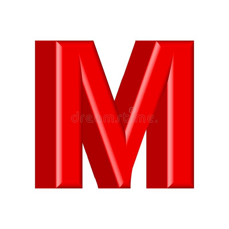 Glatte rosa Versalien des Farbenbuchstaben M 3D übertragen vom Blasenguß mit Schimmer lokalisiert auf weißem Hintergrund lizenzfreie abbildung