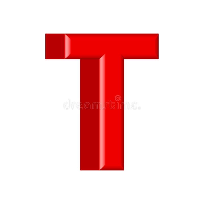 Glatte rosa Versalien des Farbenbuchstaben T 3D übertragen vom Blasenguß mit Schimmer lokalisiert auf weißem Hintergrund lizenzfreie abbildung