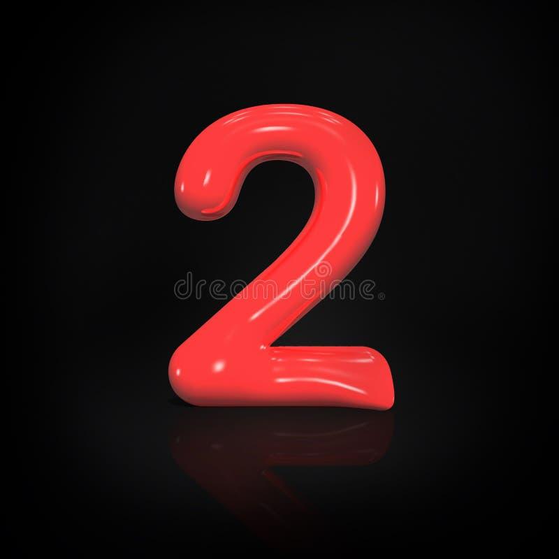Glatte rote Farbe Nr. 2 des Ballons lokalisiert auf schwarzem Hintergrund, Illustration der Wiedergabe 3d stock abbildung