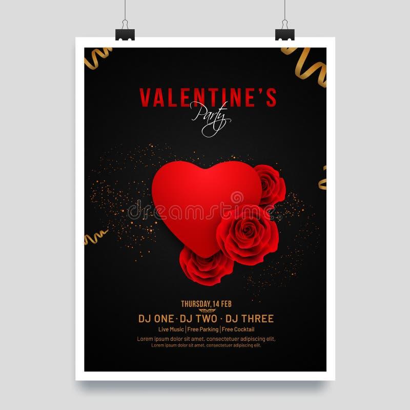 Glatte rote Herzform und Rosenblumenillustration auf schwarzem Hintergrund lizenzfreie abbildung